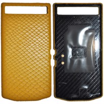 Picture of Porsche Design Leather Battery Door Cover for BlackBerry P'9982 (Python Yellow)