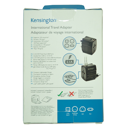 Picture of Kensington K38120WW International Travel Adapter (Black) compatible with Silent Circle Blackphone 2